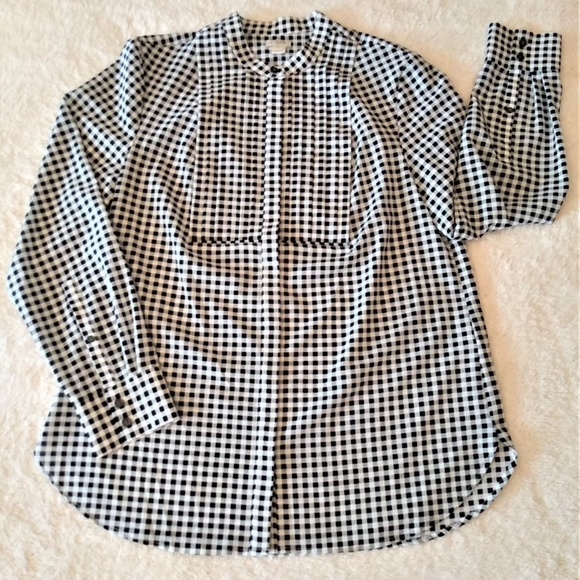 J. Crew Tops - J. Crew Gingham Button Down Blouse Size Medium